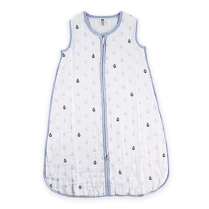 Alternate image 1 for BabyVision® Hudson Baby® Size 0-6M Anchors Muslin Sleeping Bag