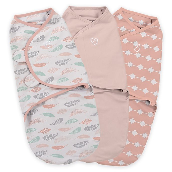 Alternate image 1 for SwaddleMe® Original Swaddle Small/Medium 3-Pack Feathers in Coral
