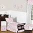 Part of the Sweet Jojo Designs Alexa Toddler Bedding Collection in Pink/Grey