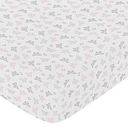 Sweet Jojo Designs Alexa Butterfly Fitted Crib Sheet in Pink/Grey