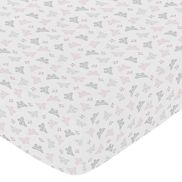 Alternate image 1 for Sweet Jojo Designs Alexa Butterfly Fitted Crib Sheet in Pink/Grey