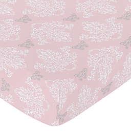 Sweet Jojo Designs Alexa Damask Fitted Crib Sheet in Pink/Grey