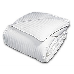 Damask Goose Down and Feather Comforter in White