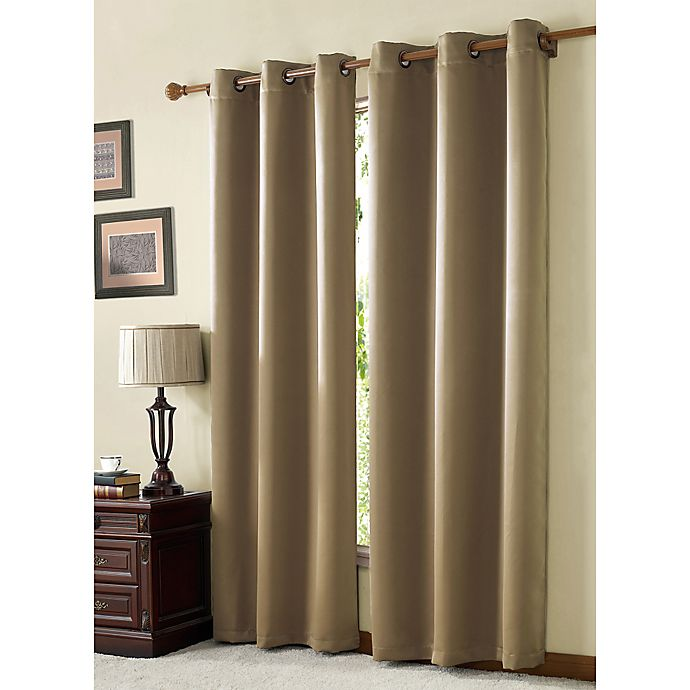 Alternate image 1 for VCNY McKenzie Juvi 84-Inch Room-Darkening Grommet Top Window Curtain Panel in Taupe