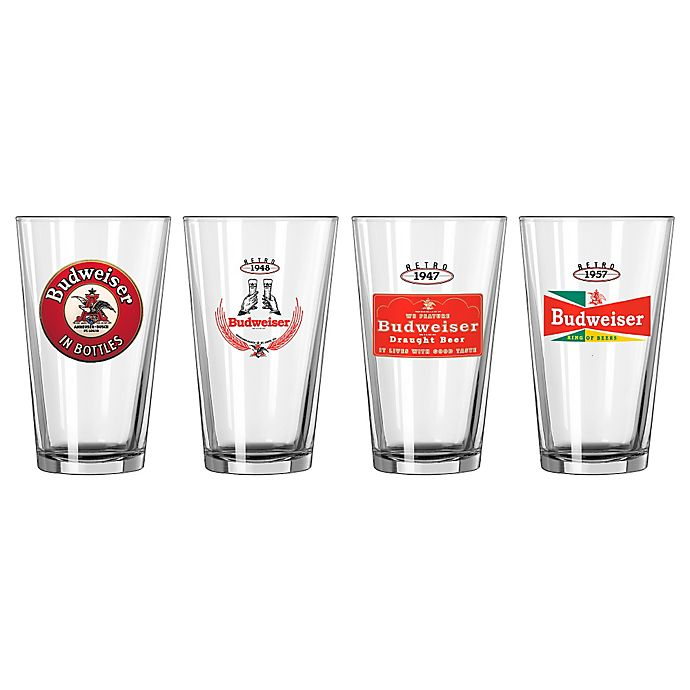 Alternate image 1 for Budweiser Retro Variety Pint Glasses (Set of 4)