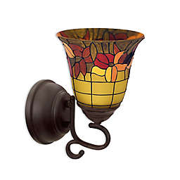 Tuscany Faux Stained Glass Flameless Oil Rubbed Wall Sconce
