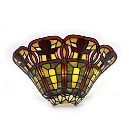 Half Moon and Flowers Stained Glass Wall Sconce