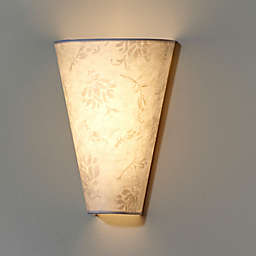 Moiré Fabric Shade Wall Sconce in White/Amber