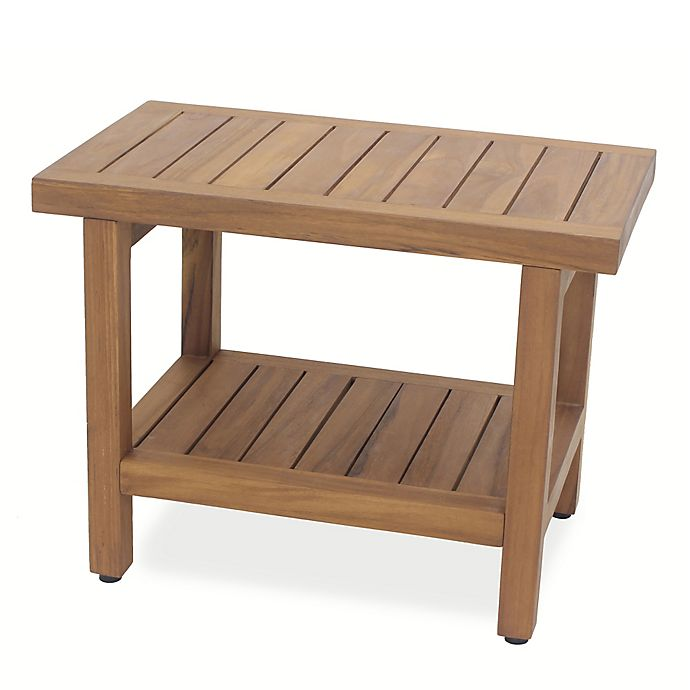 Alternate image 1 for Teak Wood Oversized Shower Bench with Shelf