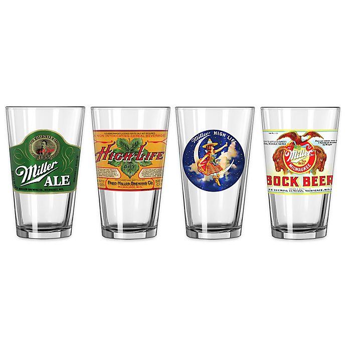 Alternate image 1 for Miller Retro Variety Pint Glasses (Set of 4)