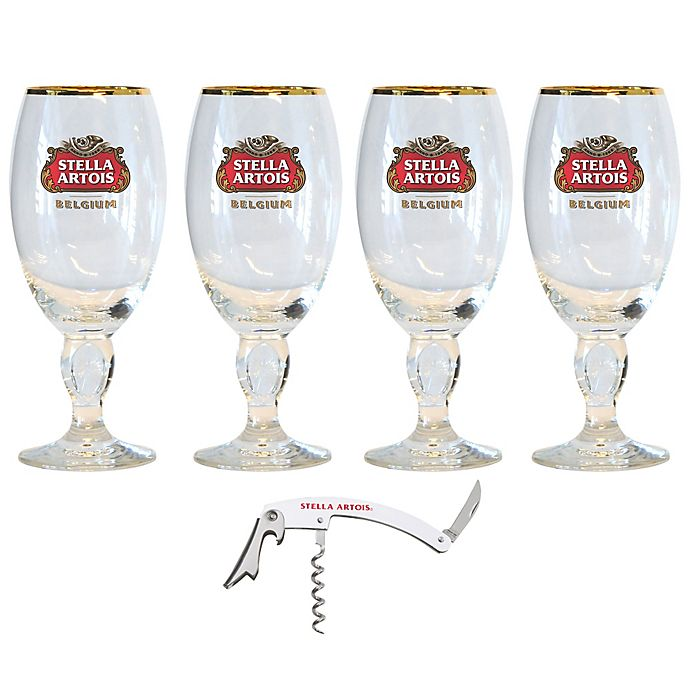 Alternate image 1 for Stella Artois 11 oz. Chalice Glass with Bottle Opener (Set of 4)