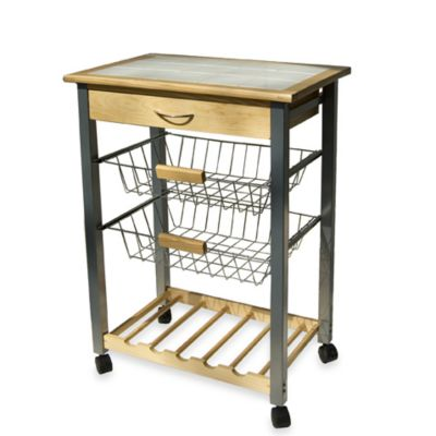 Rolling Kitchen Cart with Two Baskets | Bed Bath & Beyond
