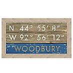 Retro Style Framed  Woodbury  Map Coordinates Sign