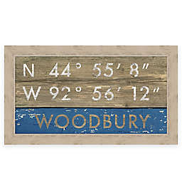 """Retro Style """"Woodbury"""" Map Coordinates 28-Inch x 16-Inch Framed Sign"""