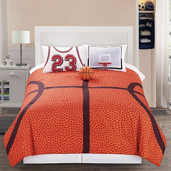 Alternate image 1 for B-Ball Reversible Comforter Set in Orange