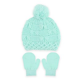 Capelli New York 2-Piece Mix Stitch Hat and Mitten Set in Mint