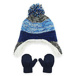 Capelli New York Striped 2-Piece Hat and Mitten Set in Blue