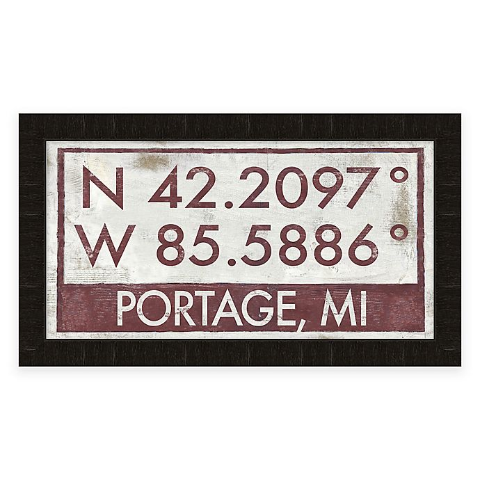 Alternate image 1 for Portage, Michigan Coordinates Framed Wall Art