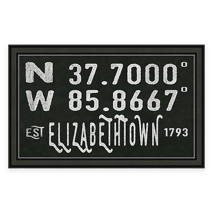 Alternate image 1 for Elizabethtown Kentucky Coordinates Framed Wall Art