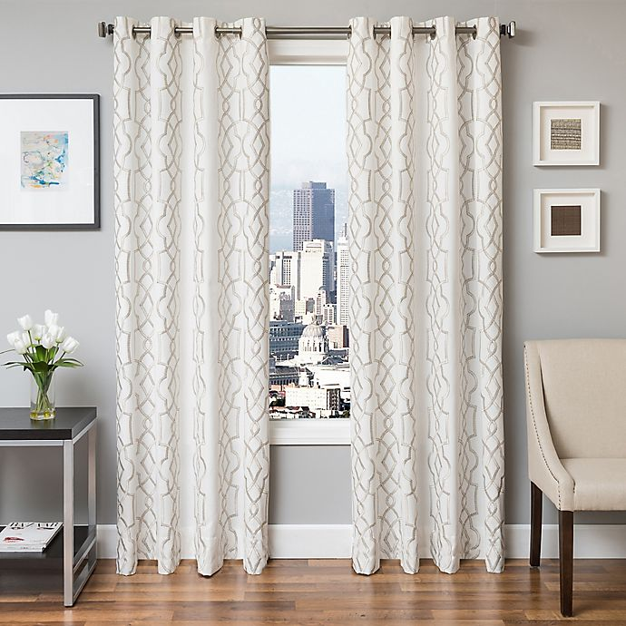 Alternate image 1 for Softline Trask 96-Inch Embroidered Grommet Top Window Curtain Panel in Champagne