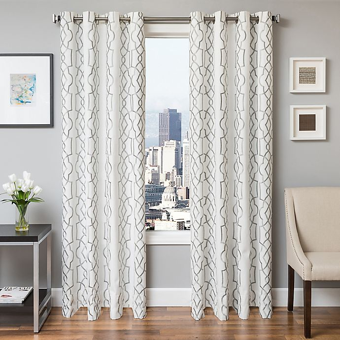 Alternate image 1 for Softline Trask 84-Inch Embroidered Grommet Top Window Curtain Panel in Haze