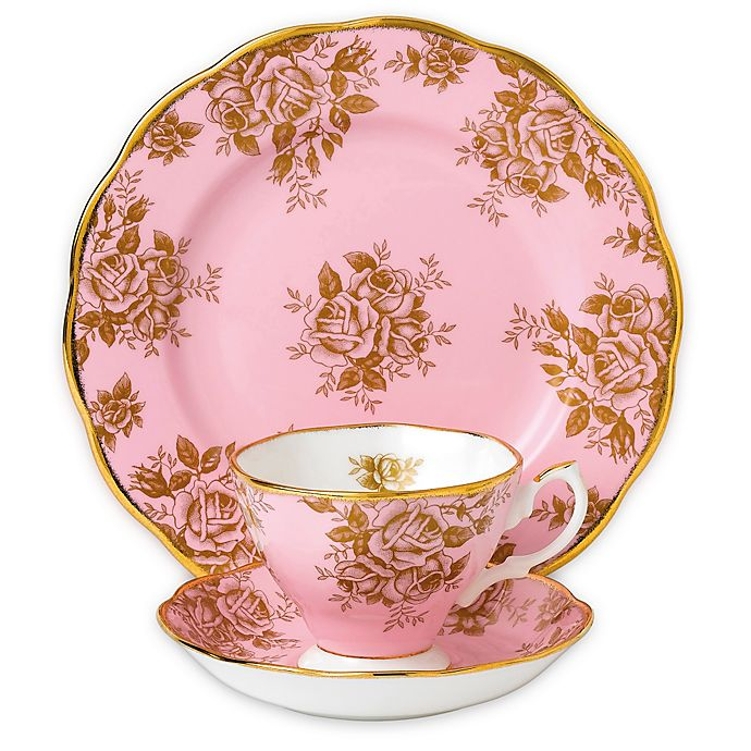Alternate image 1 for Royal Albert 100 Years 1960 Golden Rose 3-Piece Place Setting