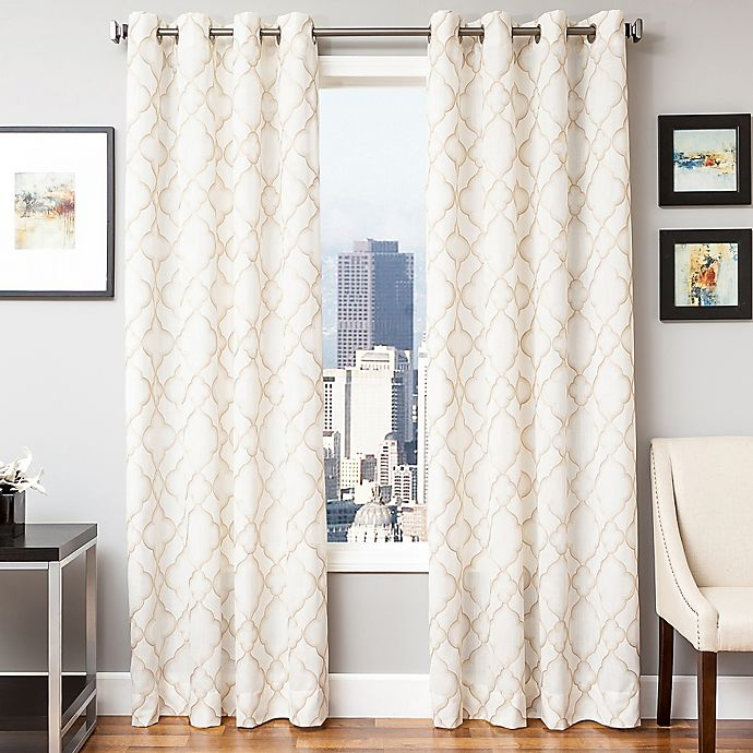 Alternate image 1 for Softline Zenon 84-Inch Embroidered Grommet Top Window Curtain Panel in Champagne