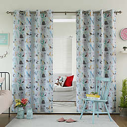 Decorinnovation Alphabet Room Darkening Grommet Top Window Curtain Panel Pair