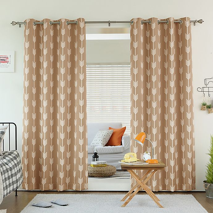 Alternate image 1 for Decorinnovation Arrow Print Room Darkening Grommet Top Window Curtain Panel Pair