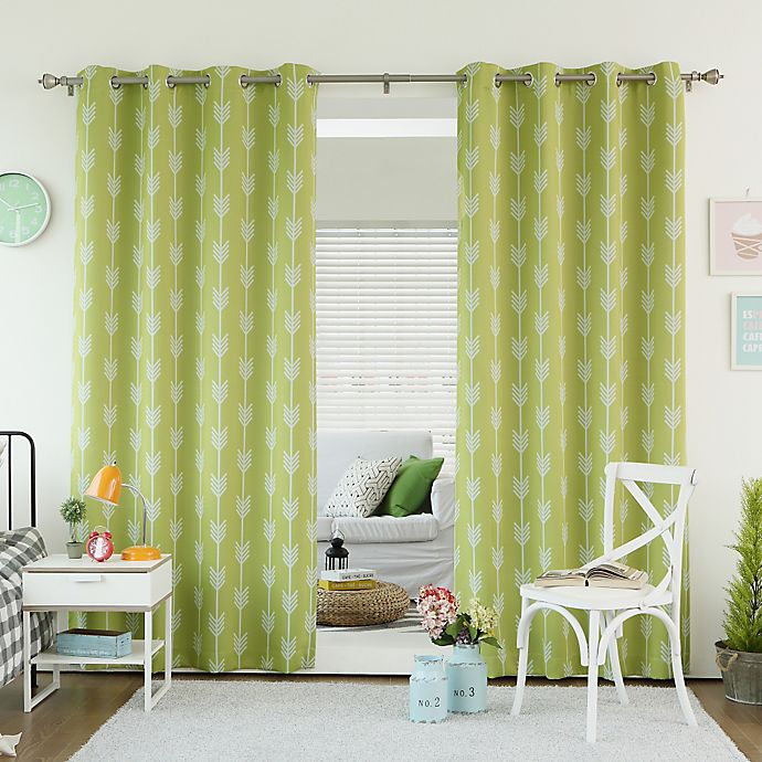 Alternate image 1 for Decorinnovation Arrow 84-Inch Room Darkening Grommet Top Window Curtain Panel Pair in Green Tea