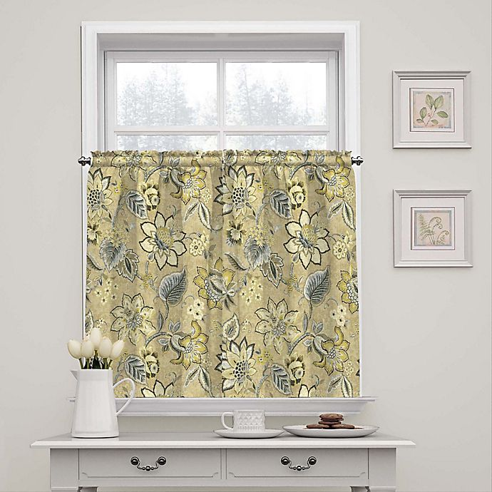 Alternate image 1 for Waverly Brighton Blossom 36-Inch Window Curtain Tier Pair in Flax