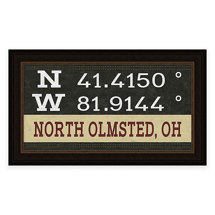 Alternate image 1 for North Olmstead Ohio Coordinates Framed Wall Art