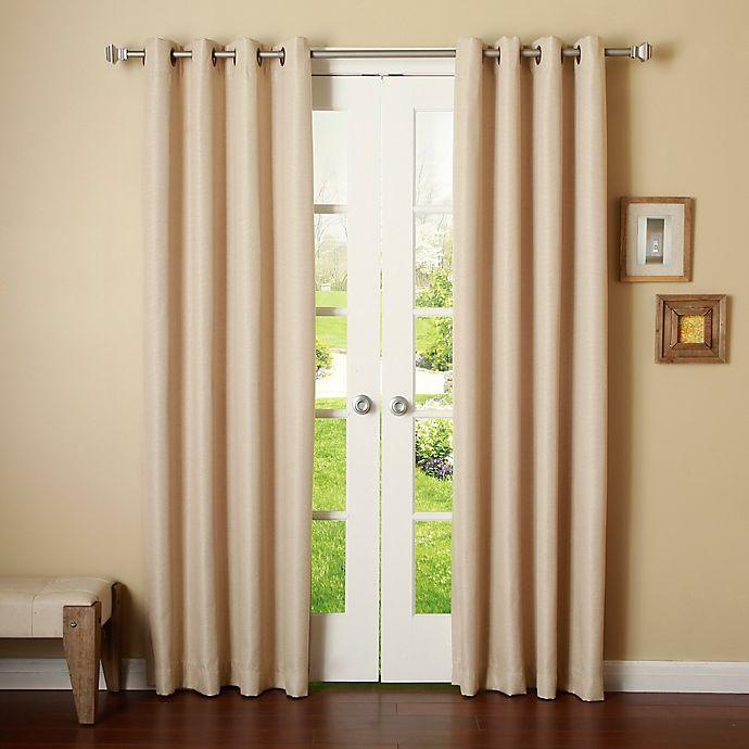 Alternate image 1 for Decorinnovation Basketweave 84-Inch Room Darkening Grommet Top Window Curtain Panel Pair in Beige