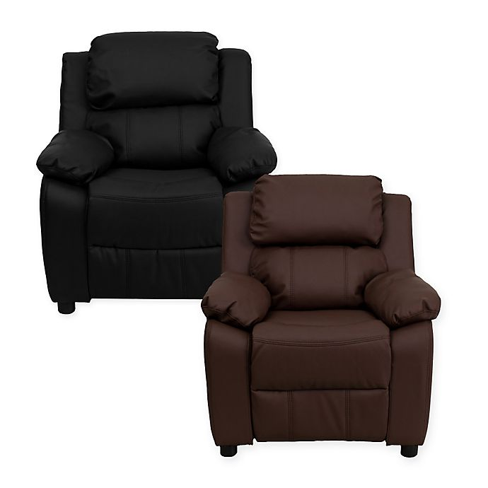 Alternate image 1 for Flash Furniture Leather Kids Recliner with Storage Arms