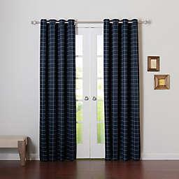Decorinnovation Graph Check Room Darkening Grommet Top Window Curtain Panel Pair