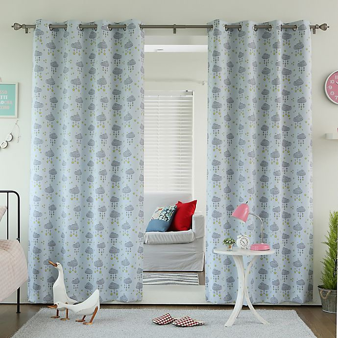 Alternate image 1 for Decorinnovation Clouds 84-Inch Room Darkening Grommet Top Window Curtain Panel Pair in Blue