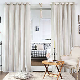 Decorinnovation Dotted Lace Overlay Blackout Grommet Top Curtain Panel Pair and Tie Backs