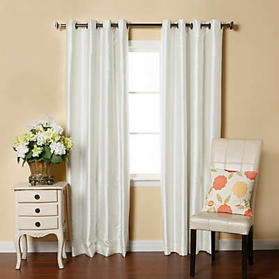 Decorinnovation Solid Faux Silk 84-Inch Blackout Grommet Top Window Curtain Panel Pair