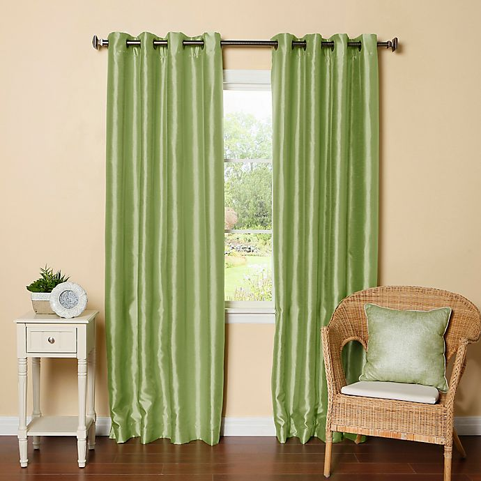 Alternate image 1 for Decorinnovation Solid Faux Silk 84-Inch Blackout Grommet Top Window Curtain Panel Pair in Sage