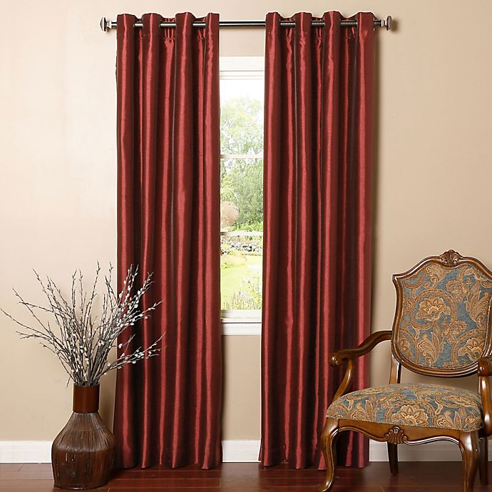 Alternate image 1 for Decorinnovation Solid Faux Silk 84-Inch Blackout Grommet Top Window Curtain Panel Pair in Burgundy