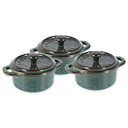 Staub Mini Round Cocottes in Turquoise (Set of 3)