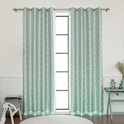 Decorinnovation Quatrefoil Faux Silk 84-Inch Blackout Grommet Top Window Curtain Panel