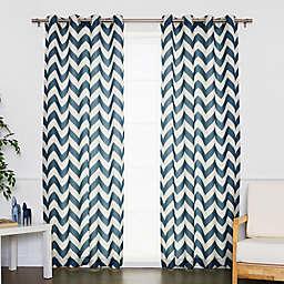 Decorinnovation Linen Blend Chevron Grommet Top Window Curtain Panel Pair