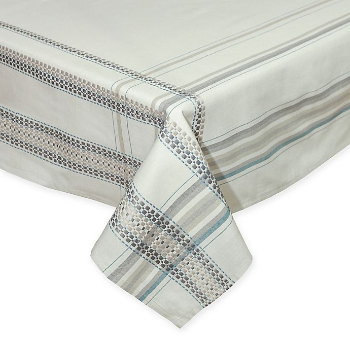 Alternate image 1 for Terra Woven French Picnic 60-Inch x 140-Inch Oblong Tablecloth in Blue