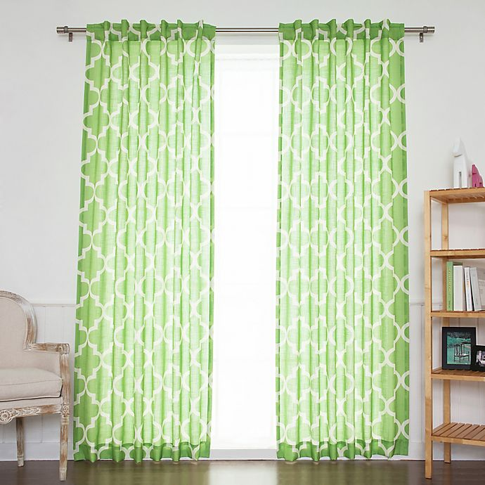 Alternate image 1 for Decorinnovation Moroccan Linen Blend 96-Inch Back Tab/Rod Pocket Window Curtain Panel Pair in Green