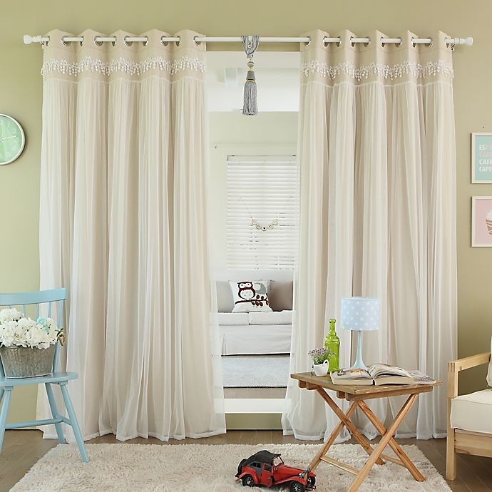 Alternate image 1 for Decorinnovation Sheer Overlay 96-Inch Grommet Top Blackout Window Curtain Panel Pair in Beige