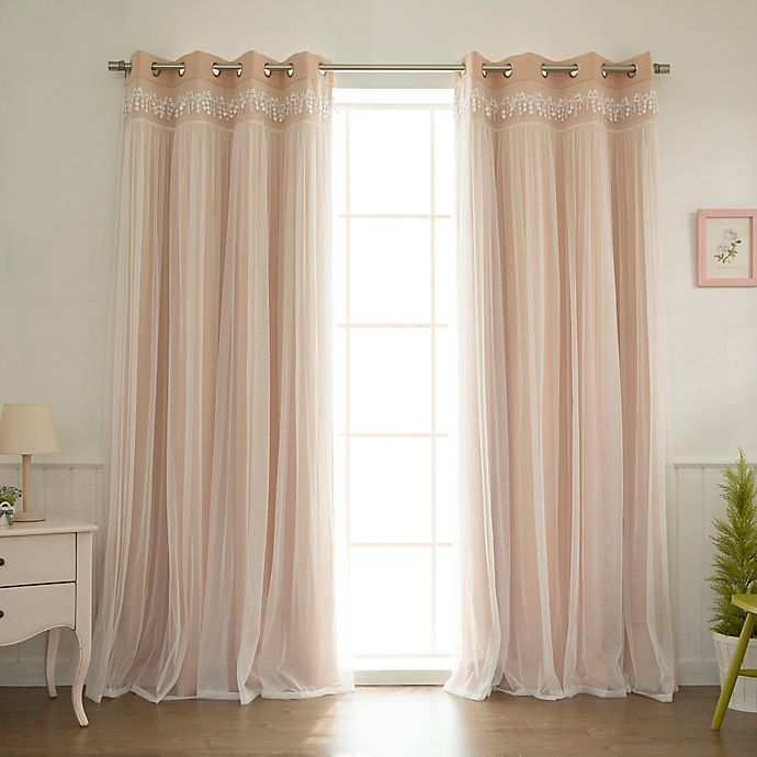 Alternate image 1 for Decorinnovation Sheer Overlay 84-Inch Grommet Top Blackout Window Curtain Panel Pair in Pink