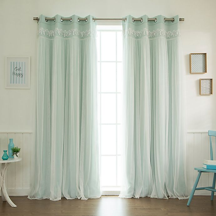Alternate image 1 for Decorinnovation Sheer Overlay 96-Inch Grommet Top Blackout Window Curtain Panel Pair in Mint