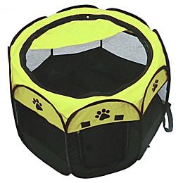 Portable Travel Pet Playpen in Black/Green