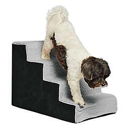 Precious Tails High Density Foam Sherpa 4 Steps Pet Stairs in Black